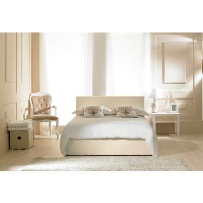 Madrid Ivory Faux Leather Ottoman Bed Super King Size