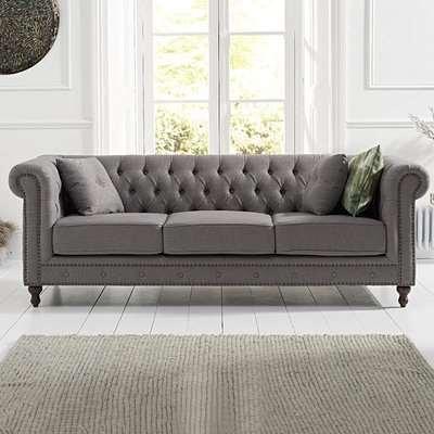 Milano Chesterfield Grey Linen Fabric 3 Seater Sofa