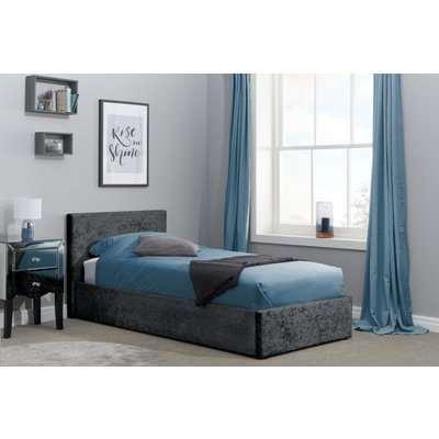 Natalia Black Velvet Single Ottoman Bed