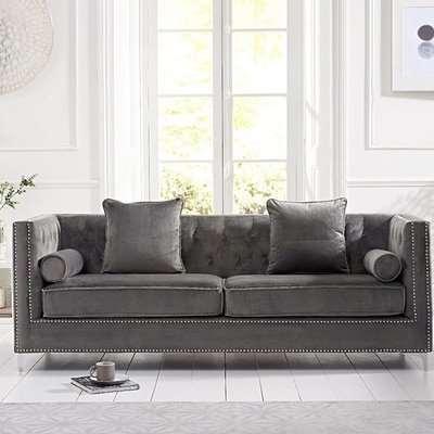 New York Grey Velvet 4 Seater Sofa