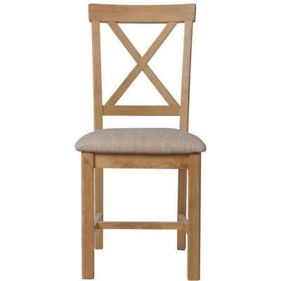 Noah Oak Cross Back Dining Chair with Fabric Seats - Oak, 2 Chairs