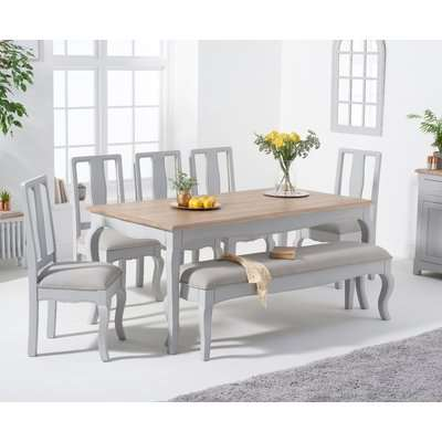 Parisian 130cm Shabby Chic Dining Table with Claudia Chairs and Bench - Cream, 2 Chairs