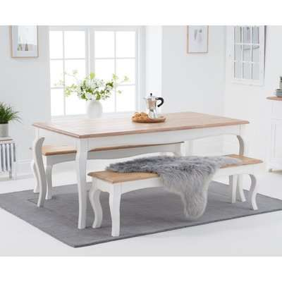 Parisian 130cm Grey Shabby Chic Dining Table with Chairs and Benches - Grey, 2 Chairs