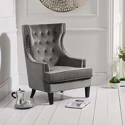 Penelope Grey Velvet Armchair