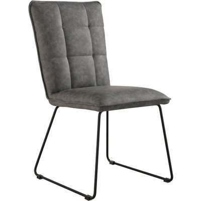 Phoenix Grey Panel Back Chairs with Angled Legs - Grey, 2 Chairs