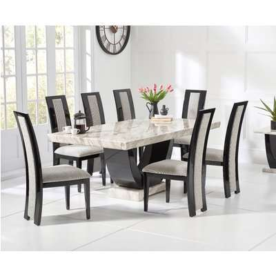 Raphael 200cm Cream and Black Pedestal Marble Dining Table with Raphael Chairs