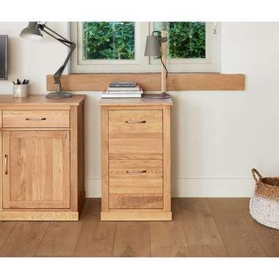Rhone Solid Oak 2 Drawer Filing Cabinet