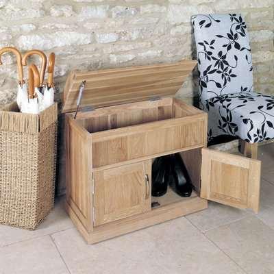 Rhone Solid Oak Hidden Storage Shoe Bench
