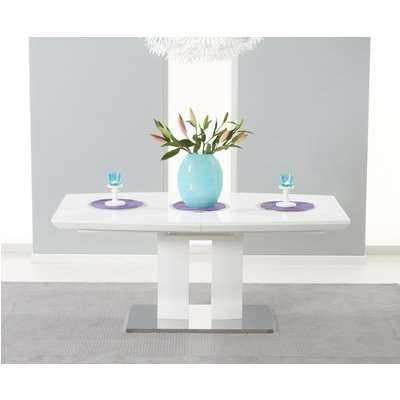 Richmond 180cm White High Gloss Extending Dining Table with 4 Malaga Chairs