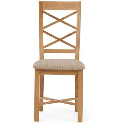 Sadie Oak Cross Back Dining Chair with Fabric Seats - Oak, 2 Chairs