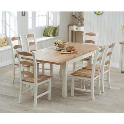 Somerset 130cm Oak and Cream Extending Dining Table with Chairs - Cream, 4 Chairs