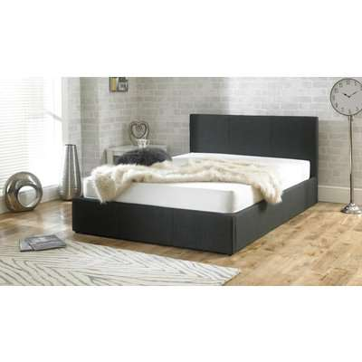 Sterling Fabric Charcoal Fabric Ottoman King Size Bed