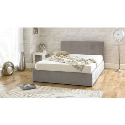 Sterling Fabric Stone Fabric Ottoman King Size Bed