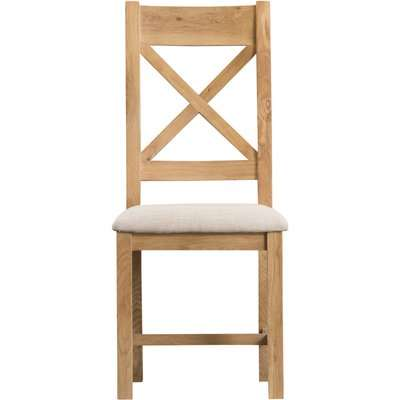Sydney Upholstered Cross Back Dining Chairs - Oak, 2 Chairs