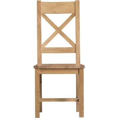 Sydney Wooden Cross Back Dining Chairs - Oak, 2 Chairs