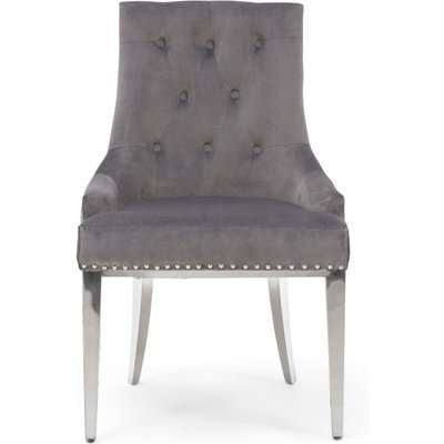 Talia Grey Velvet Dining Chairs - Grey, 2 Chairs