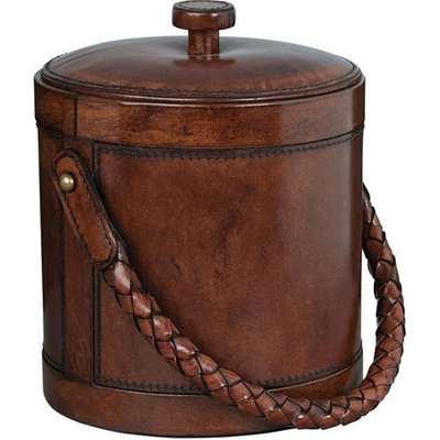 Aberdare Leather Ice Bucket - Nut Brown