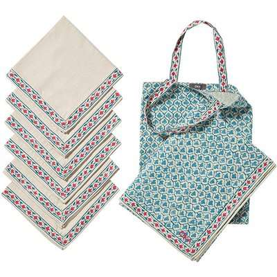 Aswathi Tablecloth, Napkins and Tote Bag Set - Blue/Red