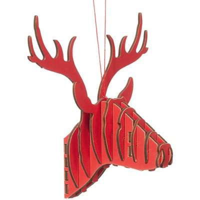 Card Reindeer Christmas Decoration - Red