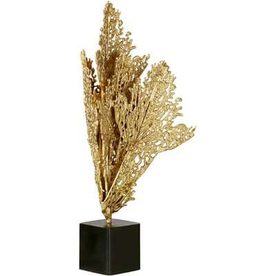 Decorative Fan Coral On Stand - Gold