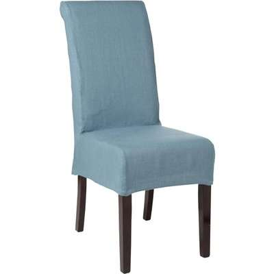 Echo Dining Chair - Dark Wood and Linen Cover - Mid Blue
