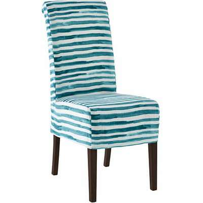Echo Dining Chair - Dark Wood and Malabar Slip Cover - Teal