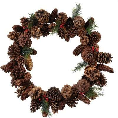 Faux Cone and Berry Wreath - Multi