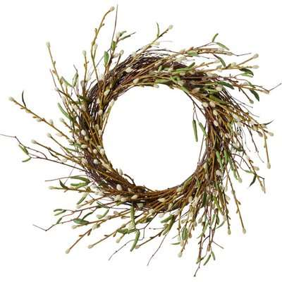 Faux Pussy Willow Wreath – White