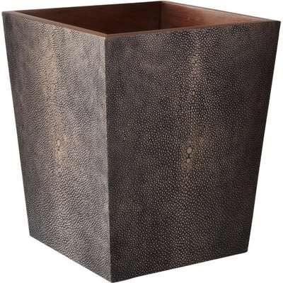 Faux Shagreen Wastepaper Bin - Mole Brown