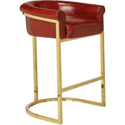 Gehrig 1920s-Style Leather Bar Chair - Antique Red