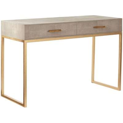 Lantau Faux Shagreen and Gold Dressing Table - Taupe