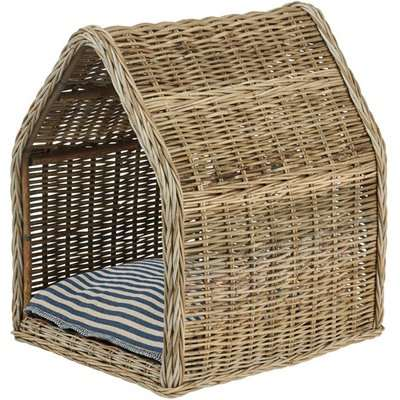 Large Patiner Rattan Dog Bed with Majuro Pet Cushion - Stone Grey/Red