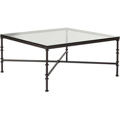 Pompidou Square Coffee Table With Glass Top - Black