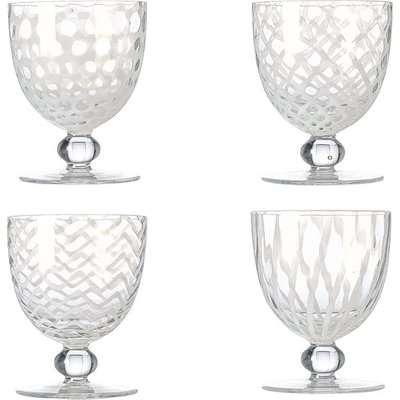 Pulcinella Large Wine Glasses, Set of Four- White