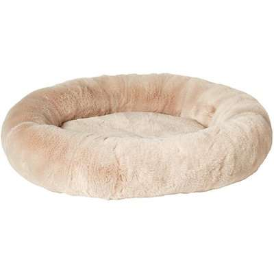 Round Faux Fur Pet Bed - Seal Grey