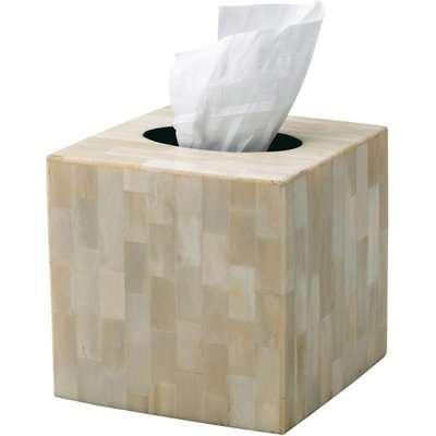 Square Tissue Box Cover, Bone