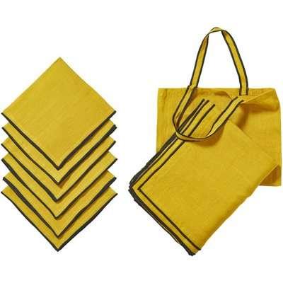 Tarifa Tablecloth, Napkins and Tote Bag Set -Acid Yellow