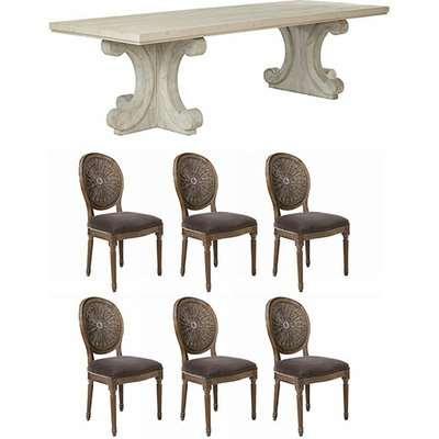 Tjikko Dining Table and Washaskie Chair Set - Grey/Truffle