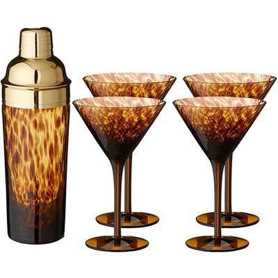 Tortoiseshell Glass Cocktail Set - Tortoiseshell
