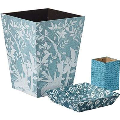 Wastepaper Bin Pot and Tray Set - Blue