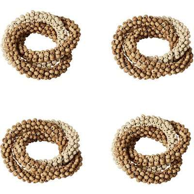 Wooden Beaded Napkin Rings Set of Four - Natural