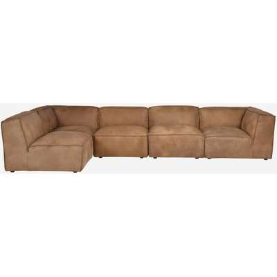 Andrew Martin Byron Sectional Sofa in Tan Brown Leather / Armless