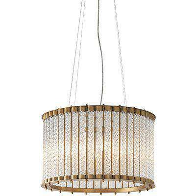 Olivia's Bianca 6 Arm Matt Gold And Clear Ribbed Glass Pendant Light