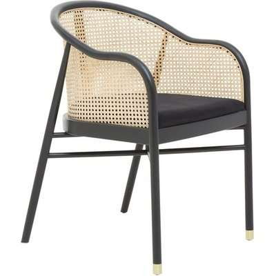 Olivia's Cali Cane Curved Rattan And Birchwood Occasional Chair Black