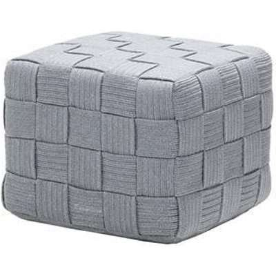 CANE-LINE Cube Outdoor Footstool Soft Rope Light Grey