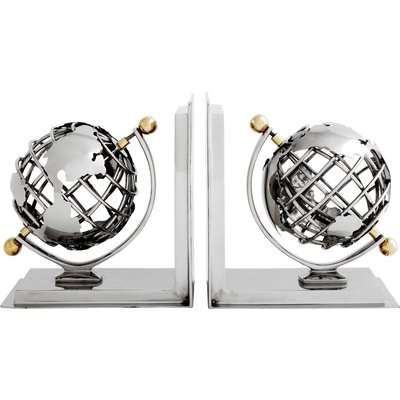 Eichholtz Globe Bookend Set of 2 Nickel Finish and Polished Brass