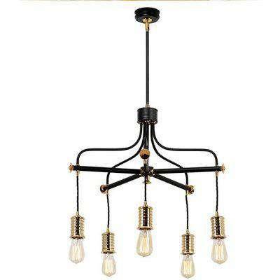 Elstead Balance 5 Light Chandelier White and Polished Nickel
