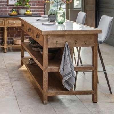 Gallery Direct Chigwell Kitchen Island White Dining Table
