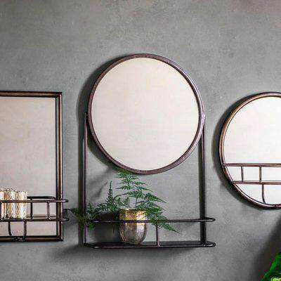 Gallery Direct Industrial Emerson Mirror with Shelf