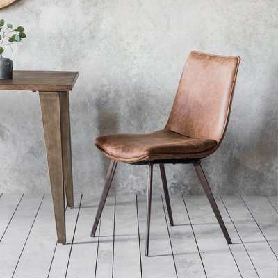 Gallery Direct Set of 2 Hinks Leather Brown Dining Chairs | Outlet